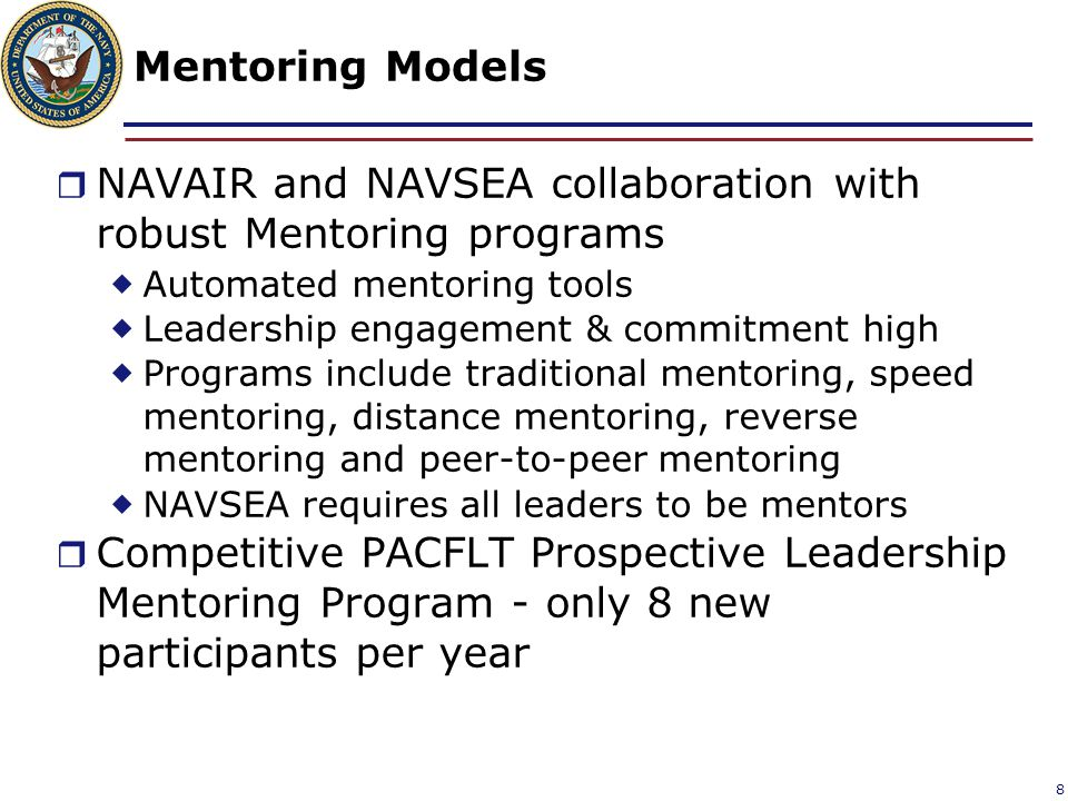 NAVAIR and NAVSEA collaboration with robust Mentoring programs