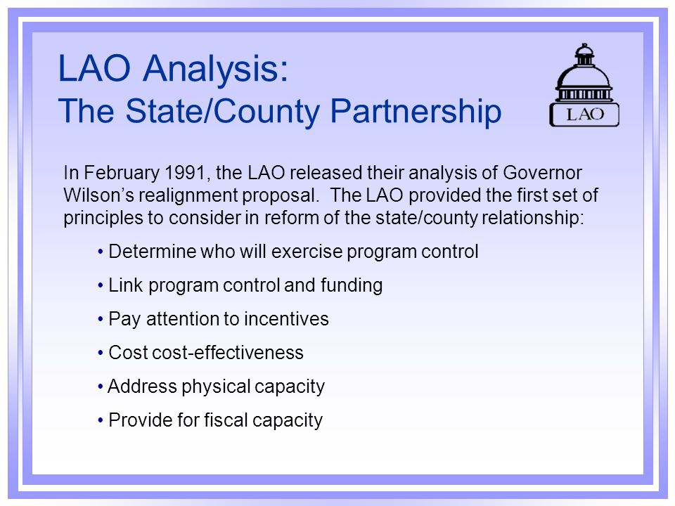 LAO Analysis: The State/County Partnership