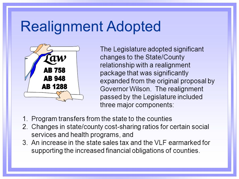 Realignment Adopted AB 758 AB 948 AB 1288