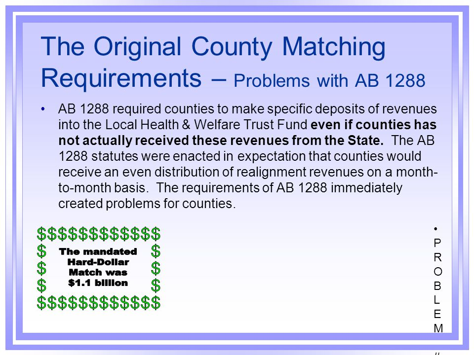 The Original County Matching Requirements – Problems with AB 1288