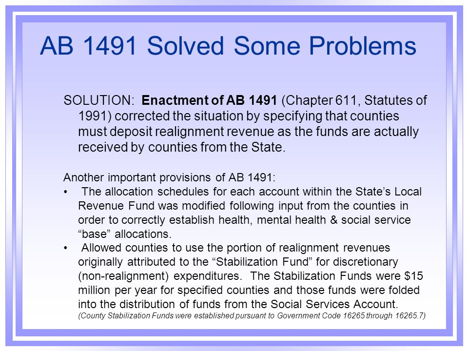 AB 1491 Solved Some Problems