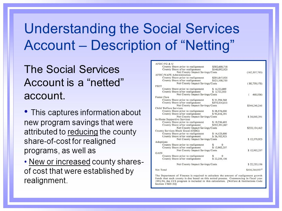 Understanding the Social Services Account – Description of Netting