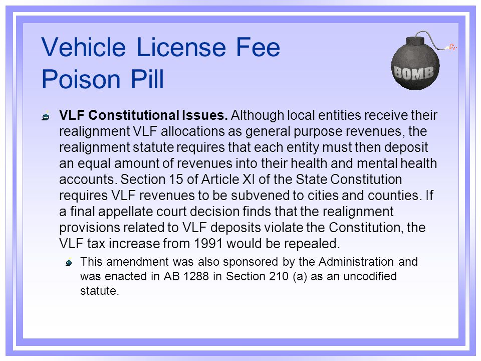 Vehicle License Fee Poison Pill