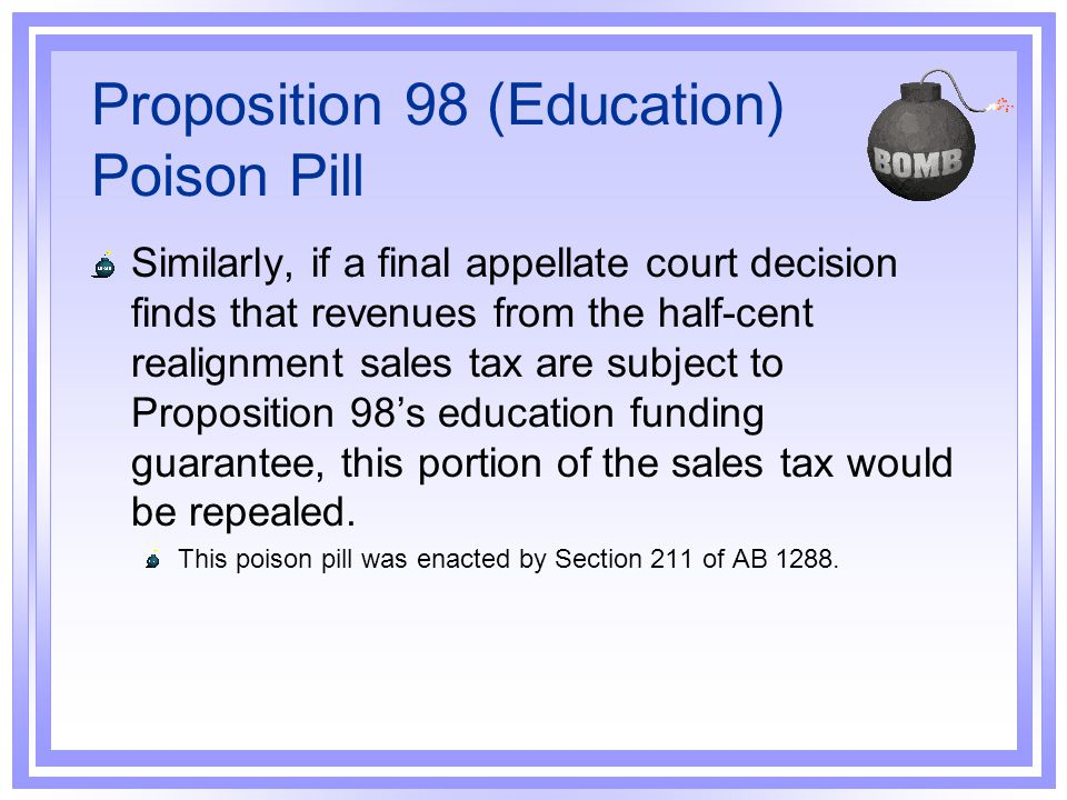 Proposition 98 (Education) Poison Pill