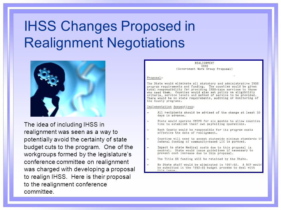 IHSS Changes Proposed in Realignment Negotiations