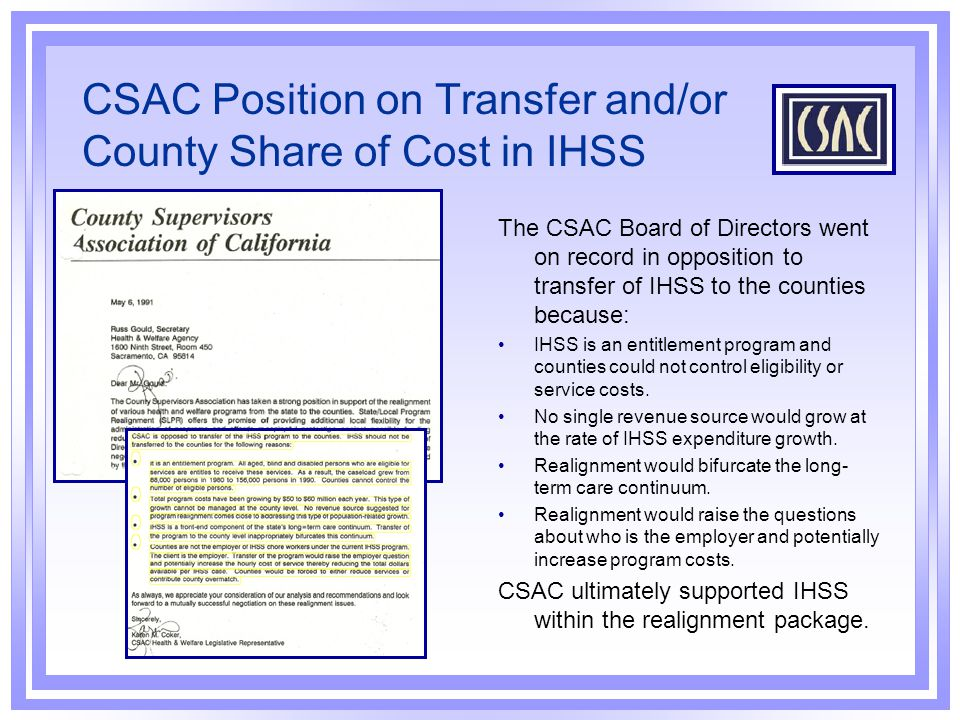 CSAC Position on Transfer and/or County Share of Cost in IHSS