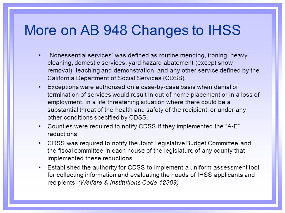 More on AB 948 Changes to IHSS