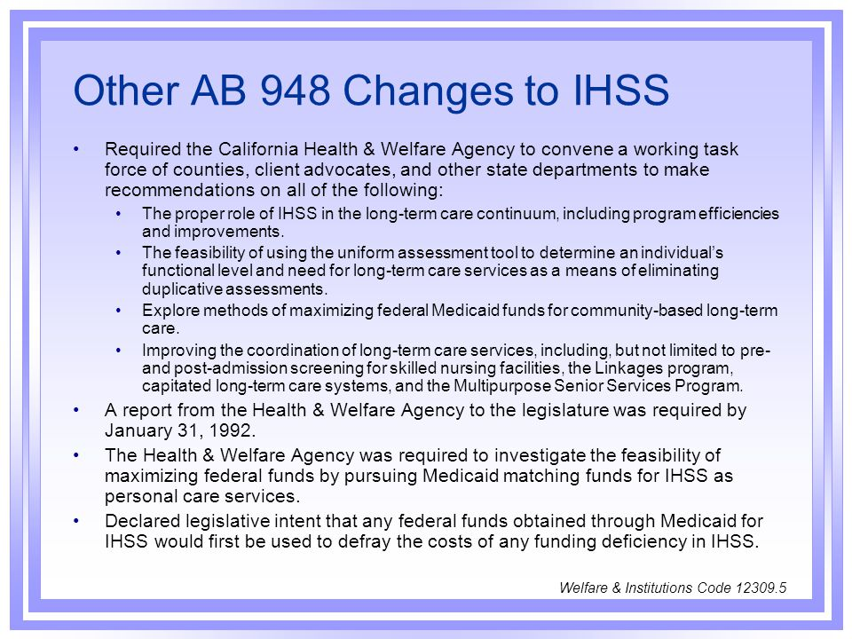 Other AB 948 Changes to IHSS