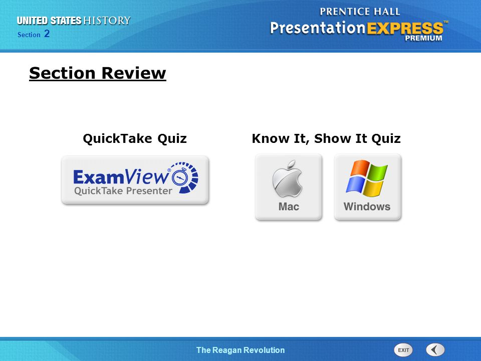 Section Review QuickTake Quiz Know It, Show It Quiz 13