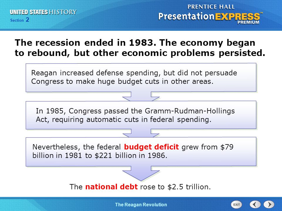 The national debt rose to $2.5 trillion.