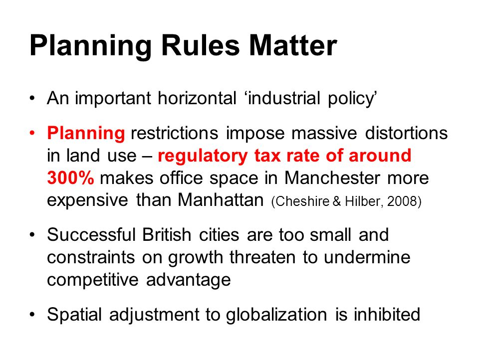 Planning Rules Matter An important horizontal 'industrial policy'