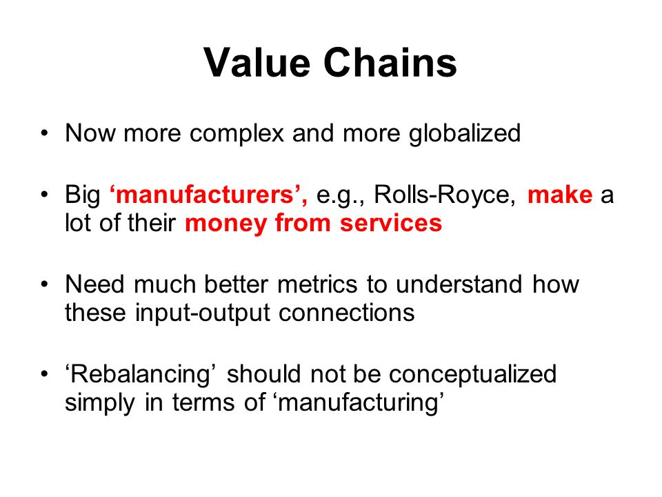 Value Chains Now more complex and more globalized