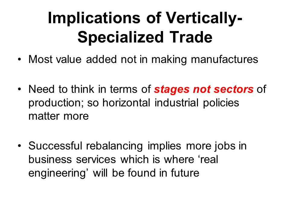 Implications of Vertically- Specialized Trade