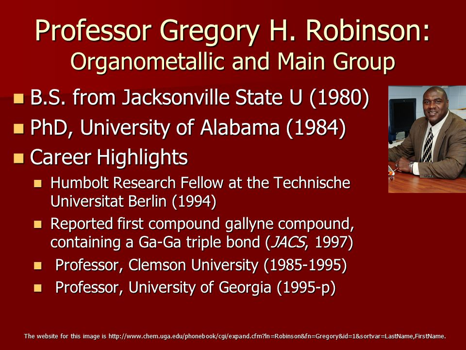 Professor Gregory H. Robinson: Organometallic and Main Group