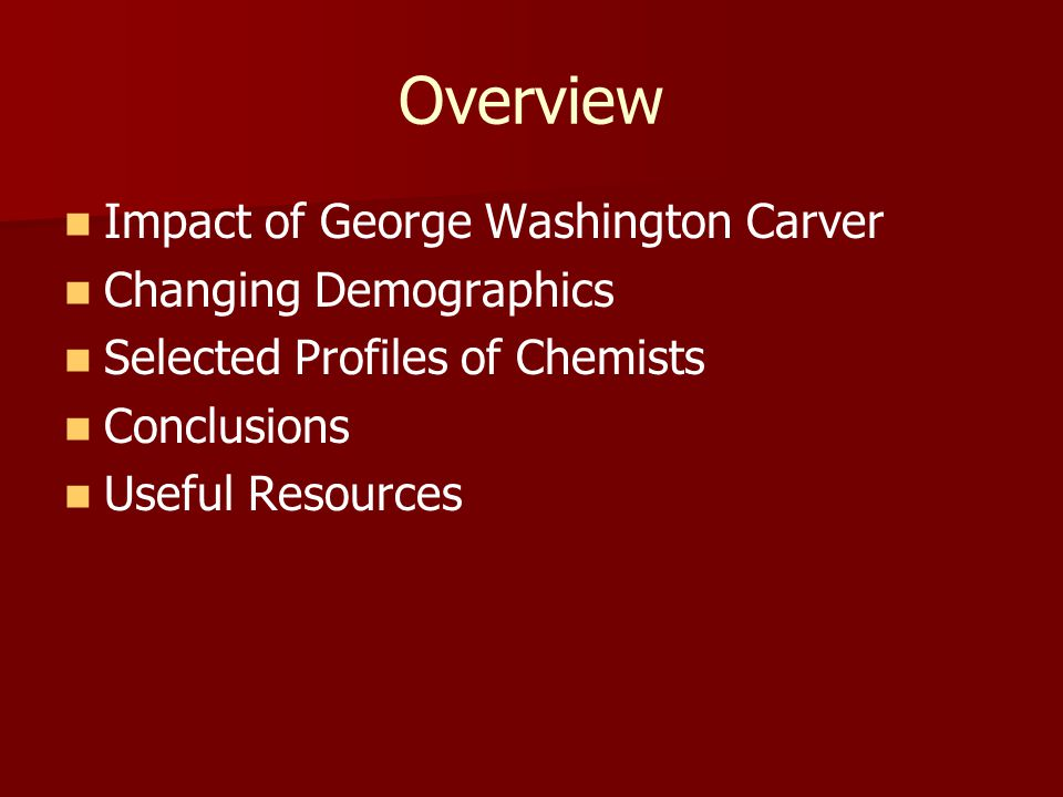 Overview Impact of George Washington Carver Changing Demographics