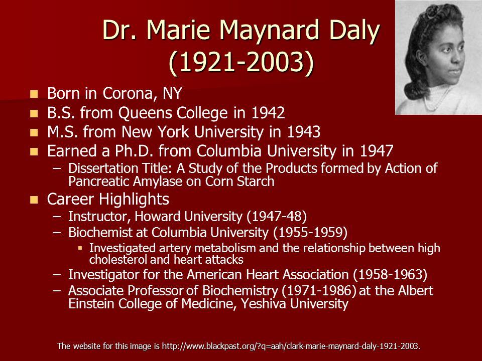 Dr. Marie Maynard Daly (1921-2003)