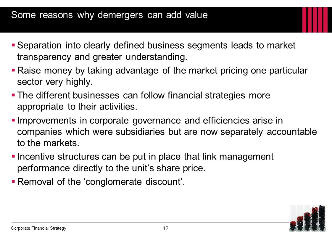 Some reasons why demergers can add value