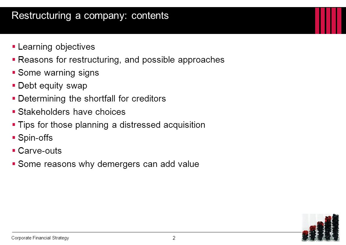 Restructuring a company: contents
