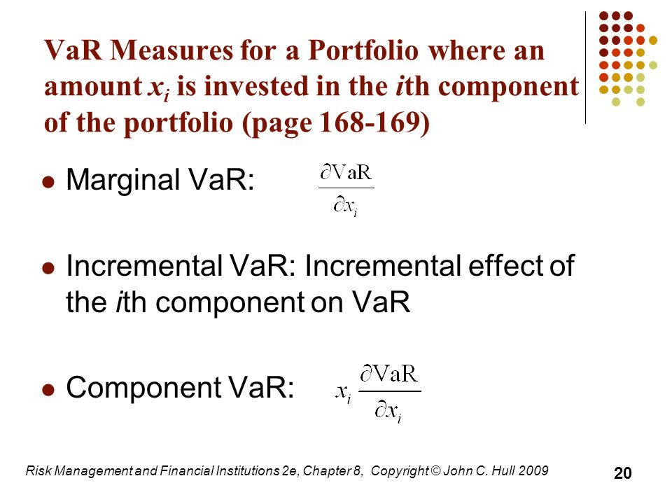 Incremental VaR: Incremental effect of the ith component on VaR