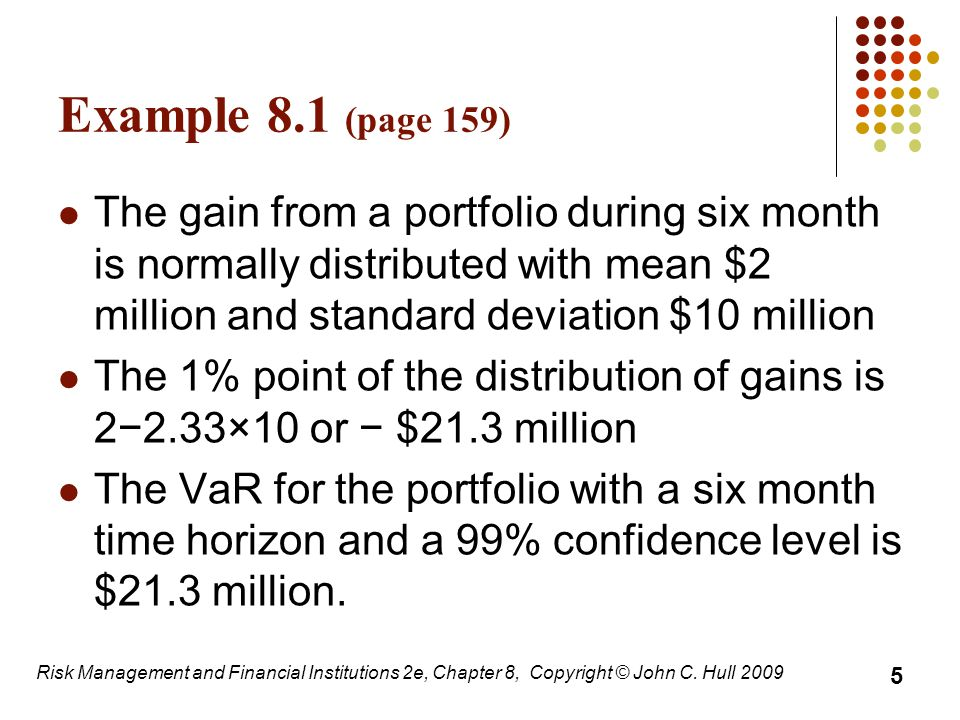 Example 8.1 (page 159) The gain from a portfolio during six month is normally distributed with mean $2 million and standard deviation $10 million.