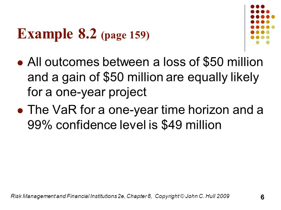 Example 8.2 (page 159) All outcomes between a loss of $50 million and a gain of $50 million are equally likely for a one-year project.