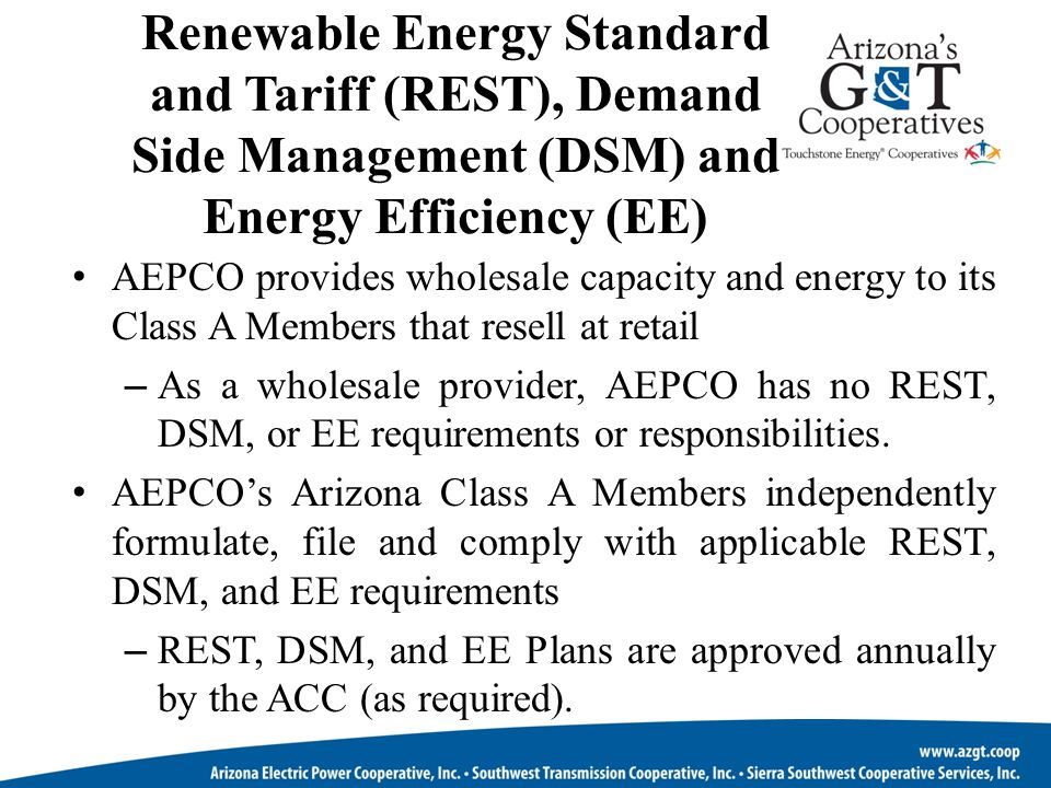 Renewable Energy Standard and Tariff (REST), Demand Side Management (DSM) and Energy Efficiency (EE)