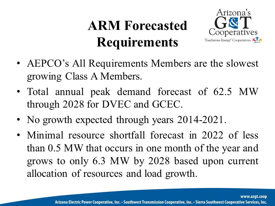 ARM Forecasted Requirements