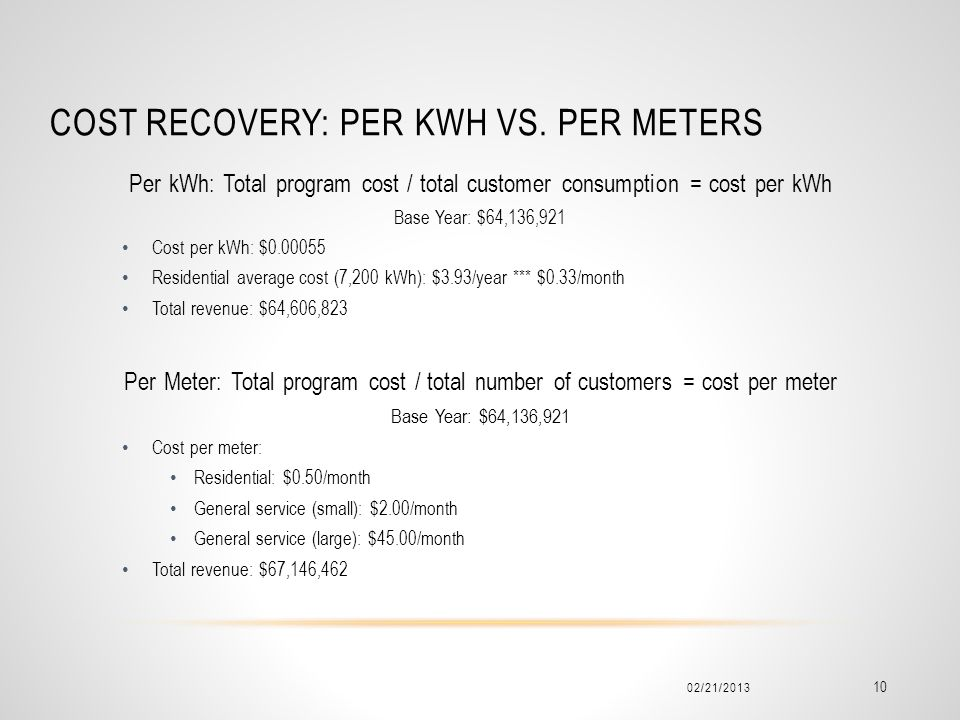 Cost recovery: per kwh vs. per meters