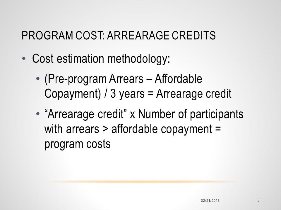 Program cost: arrearage Credits