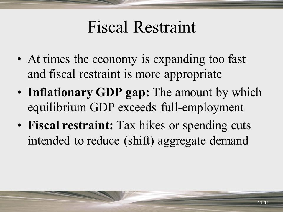 Fiscal Restraint At times the economy is expanding too fast and fiscal restraint is more appropriate.