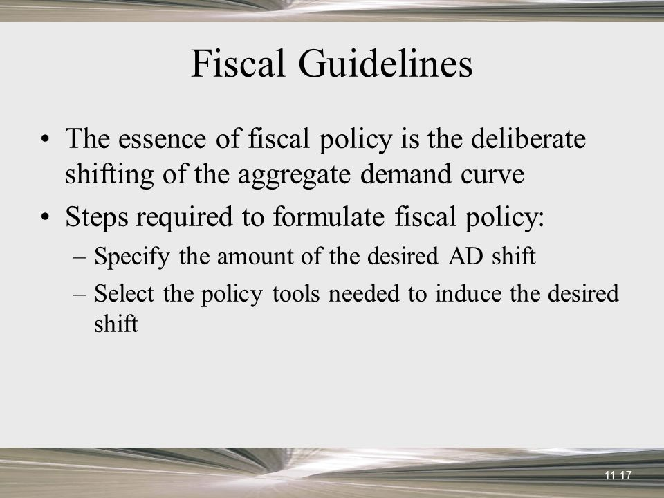 Fiscal Guidelines The essence of fiscal policy is the deliberate shifting of the aggregate demand curve.