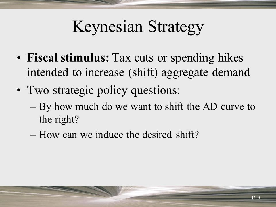Keynesian Strategy Fiscal stimulus: Tax cuts or spending hikes intended to increase (shift) aggregate demand.