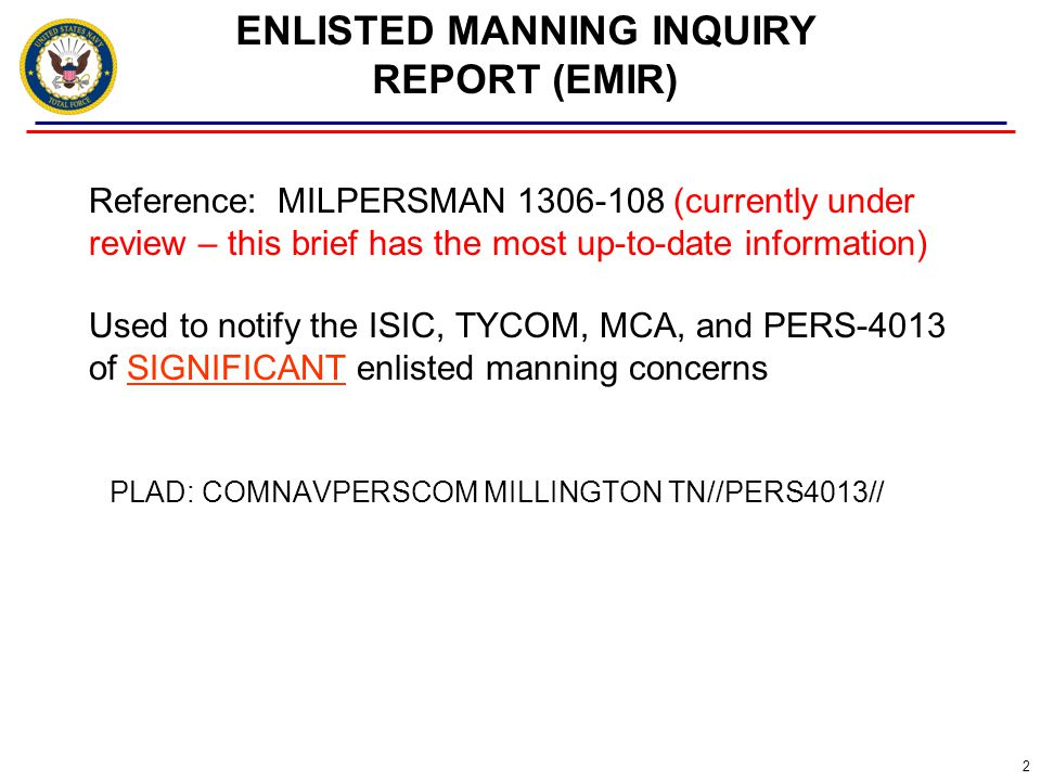 ENLISTED MANNING INQUIRY