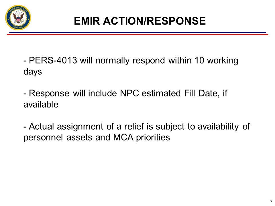EMIR ACTION/RESPONSE