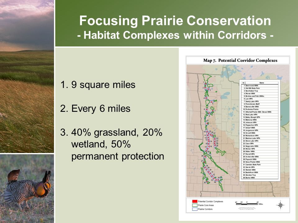 Focusing Prairie Conservation - Habitat Complexes within Corridors -