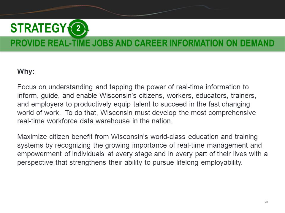 STRATEGY PROVIDE REAL-TIME JOBS AND CAREER INFORMATION ON DEMAND 2