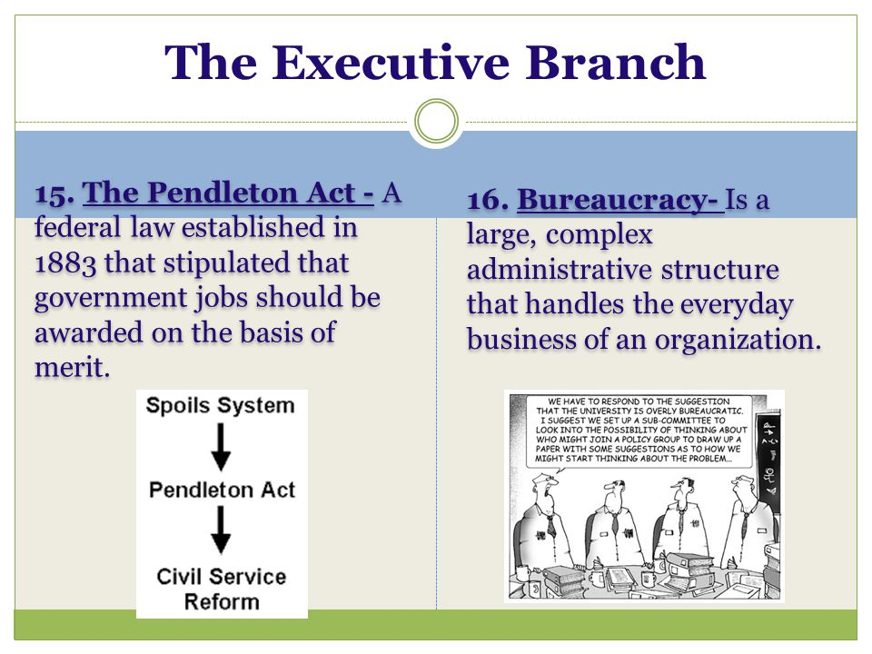 The Executive Branch 16. Bureaucracy- Is a large, complex administrative structure that handles the everyday business of an organization.
