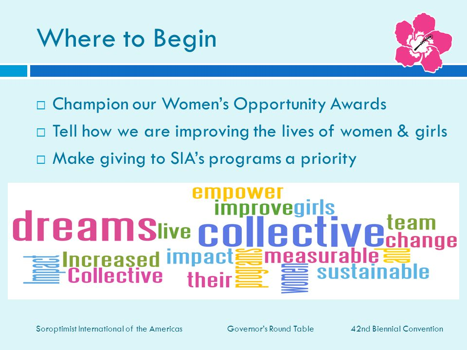 Where to Begin Champion our Women's Opportunity Awards