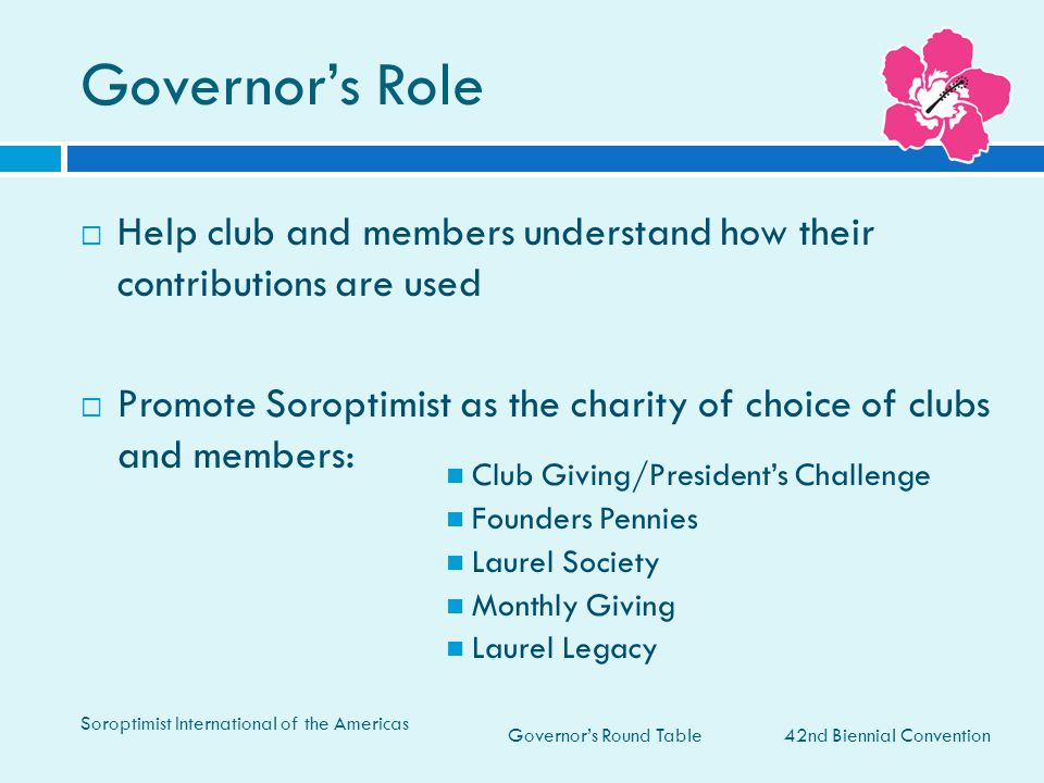 Governor's Role Help club and members understand how their contributions are used.