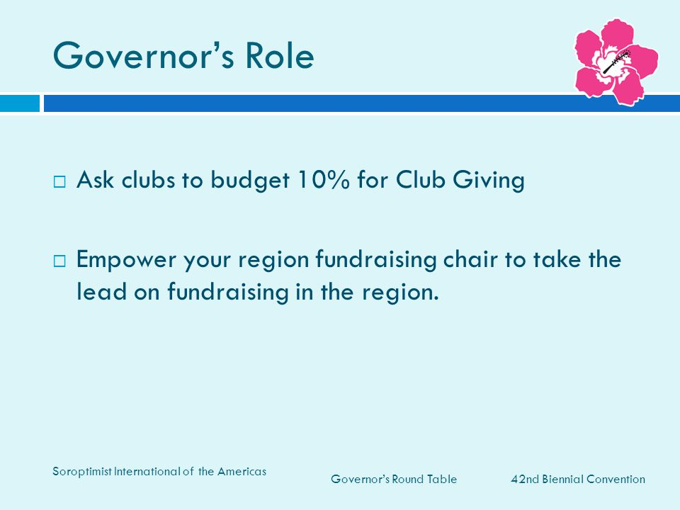 Governor's Role Ask clubs to budget 10% for Club Giving