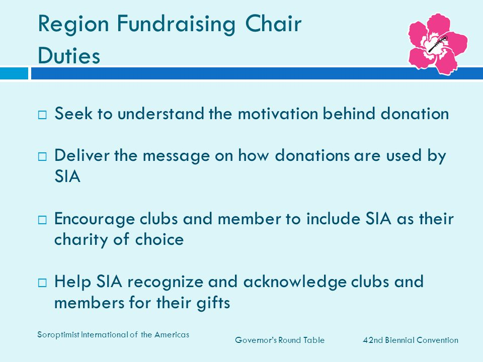 Region Fundraising Chair Duties