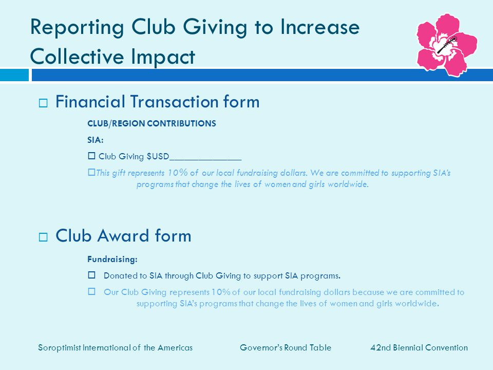 Reporting Club Giving to Increase Collective Impact