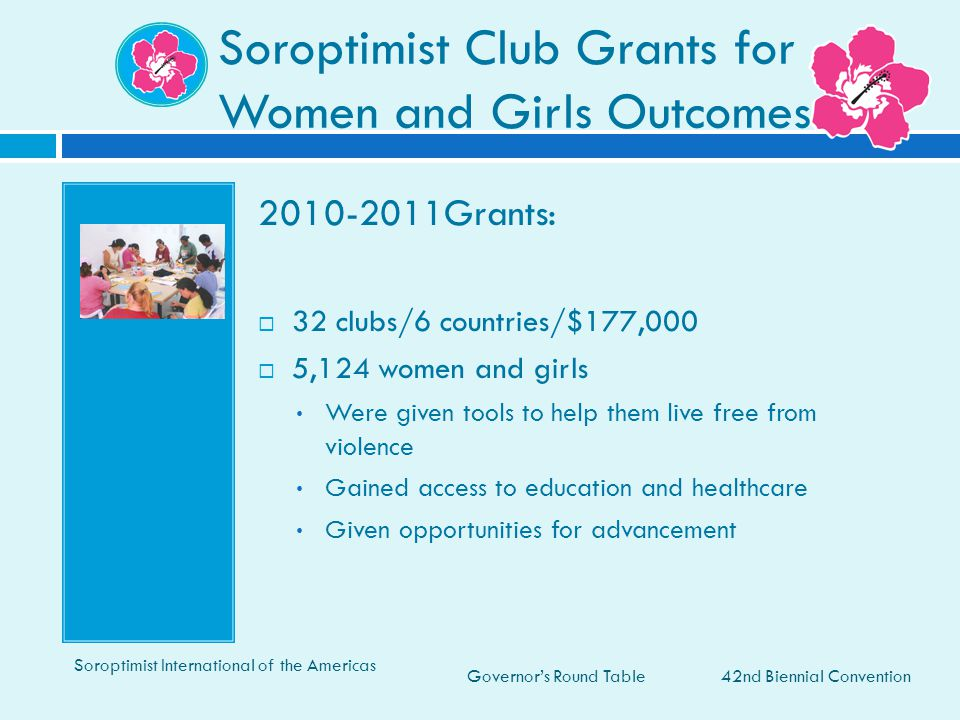 Soroptimist Club Grants for Women and Girls Outcomes