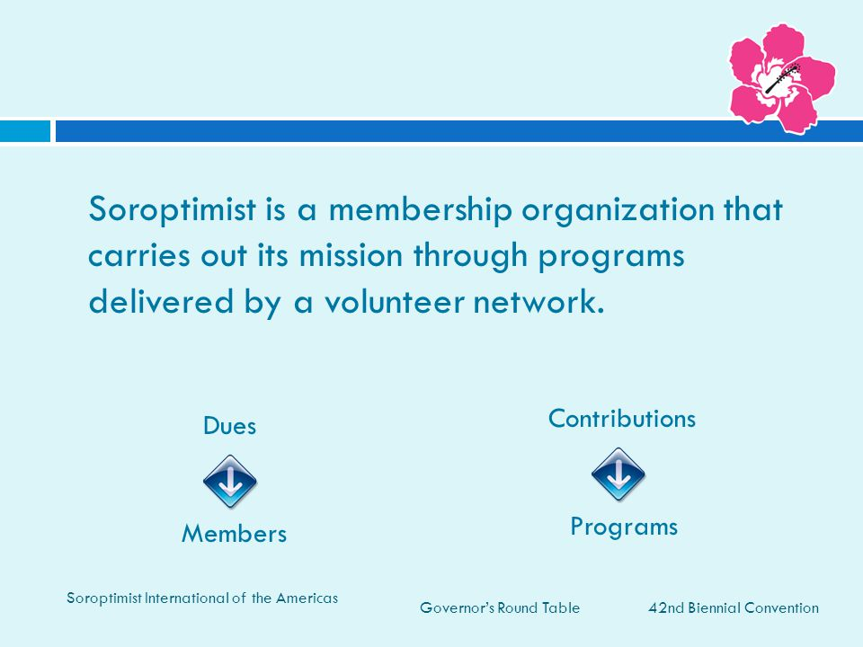 Soroptimist is a membership organization that carries out its mission through programs delivered by a volunteer network.