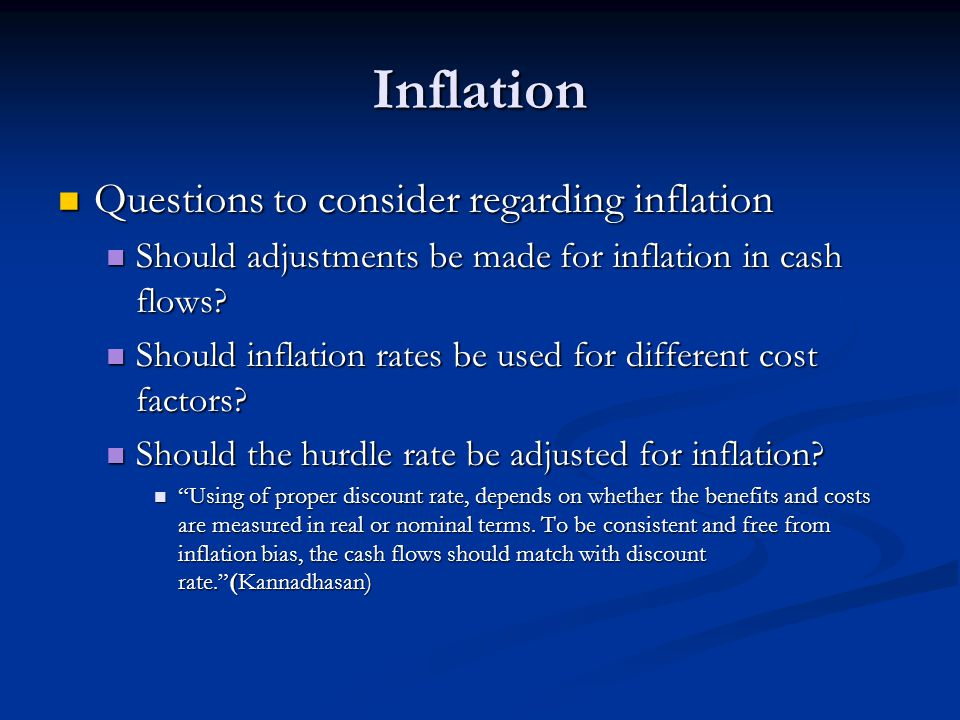 Inflation Questions to consider regarding inflation