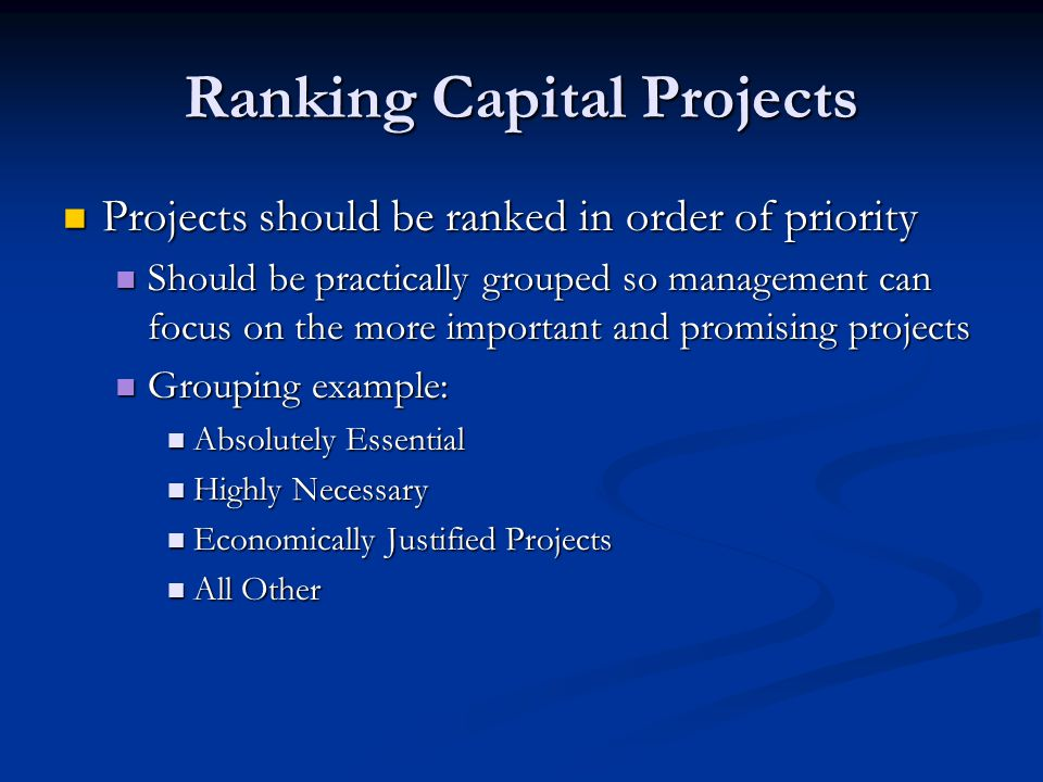 Ranking Capital Projects