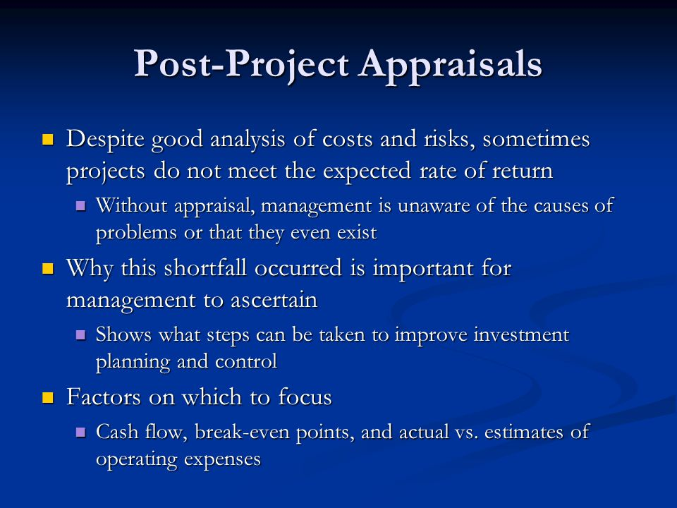 Post-Project Appraisals