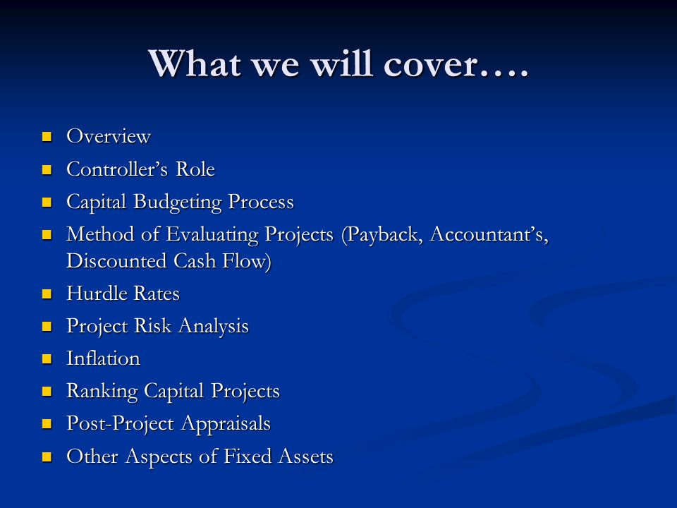 What we will cover…. Overview Controller's Role