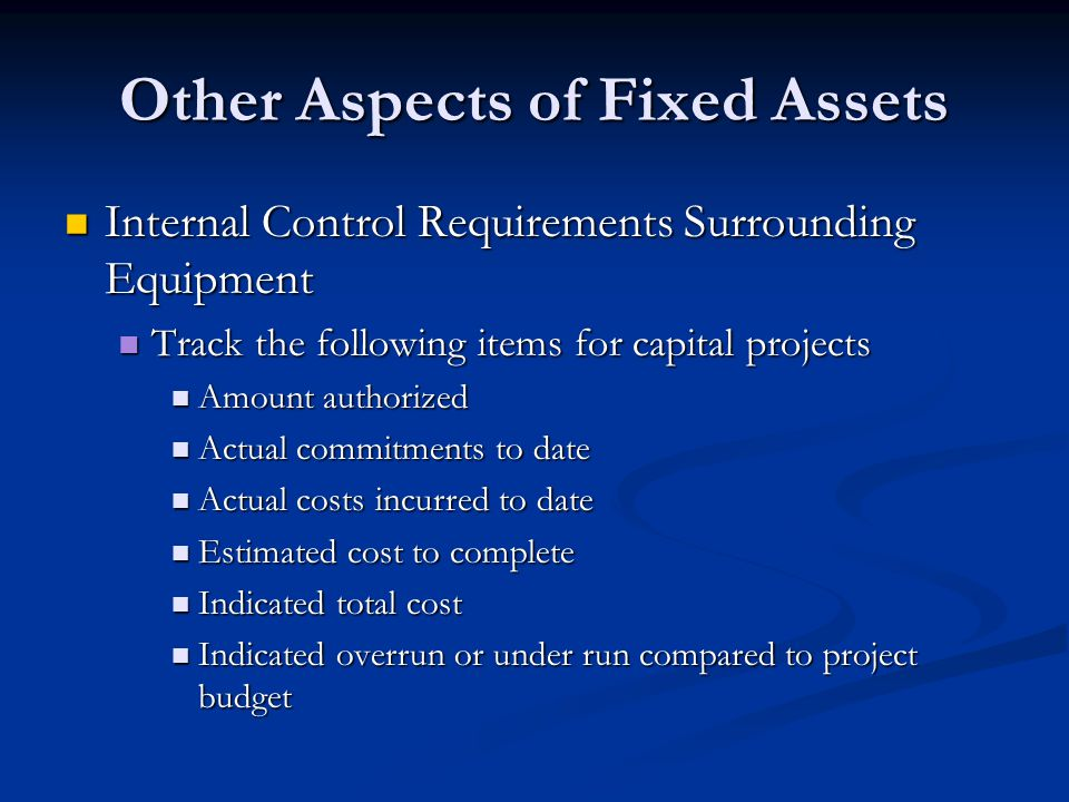 Other Aspects of Fixed Assets