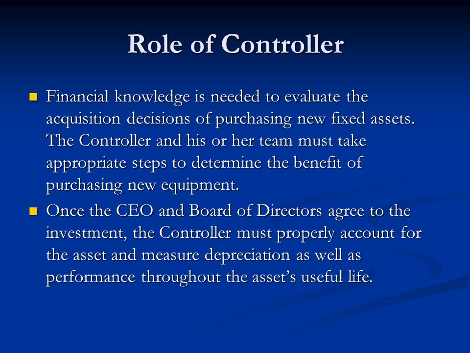Role of Controller